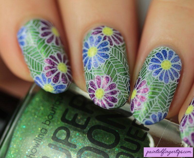 Flower stamping decals nail art by Kerry_Fingertips