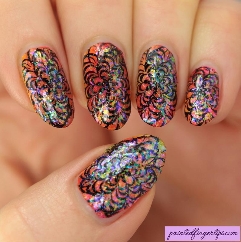 Neon smoosh stamping nail art by Kerry_Fingertips