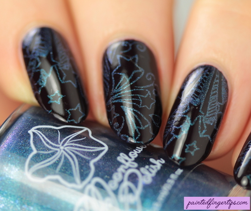 Blue starry stamping nail art by Kerry_Fingertips