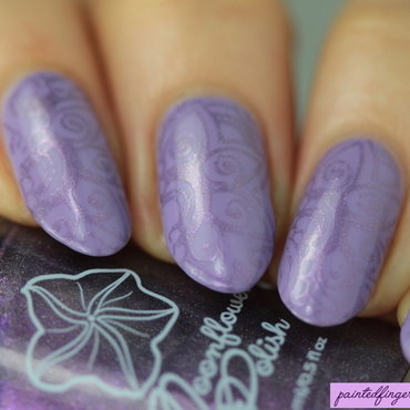 Purple stamping nail art by Kerry_Fingertips
