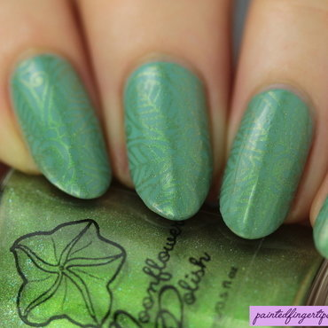 Green on green stamping nail art by Kerry_Fingertips