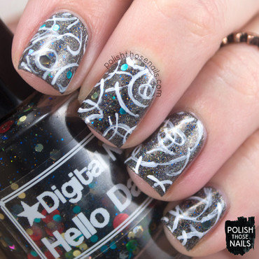 Hello Squiggles nail art by Marisa  Cavanaugh