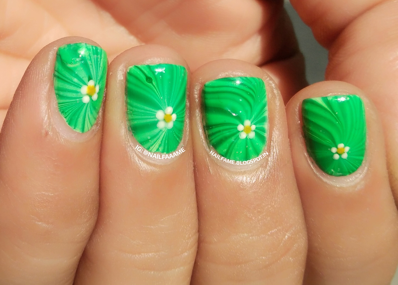 Green Water Marble nail art by Nailfame