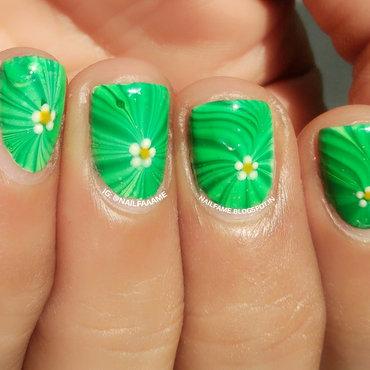 Green Water Marble nail art by Nailfame