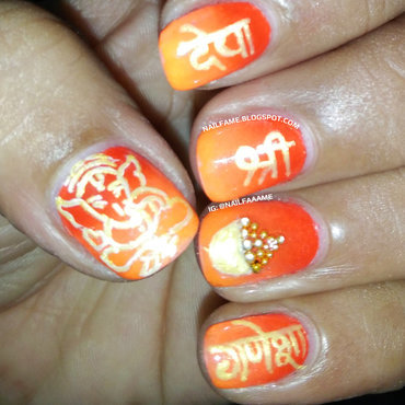Ganesh Chaturthi Special nail art by Nailfame