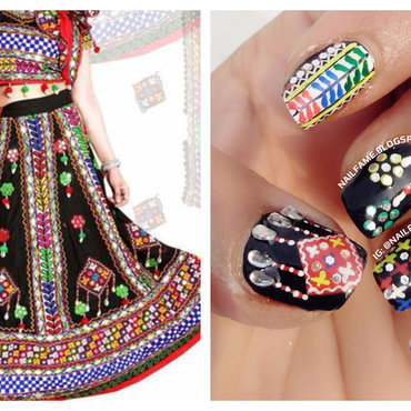 Navratri Nailart nail art by Nailfame