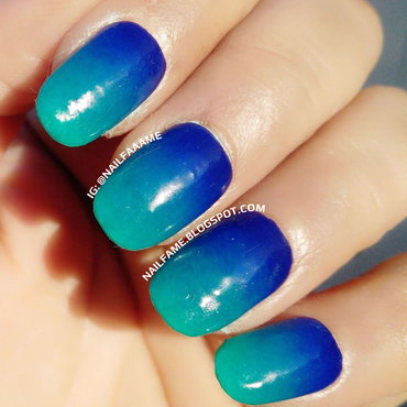 Blue Ombre nail art by Nailfame