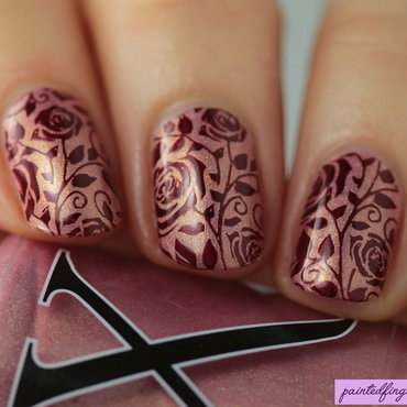 Rose stamping nail art by Kerry_Fingertips
