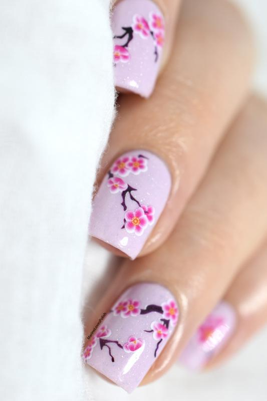 Cherry Blossom nail art by Marine Loves Polish