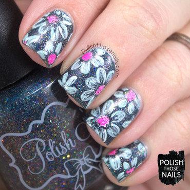 Blue holo sketchy floral pattern nail art 4 thumb370f