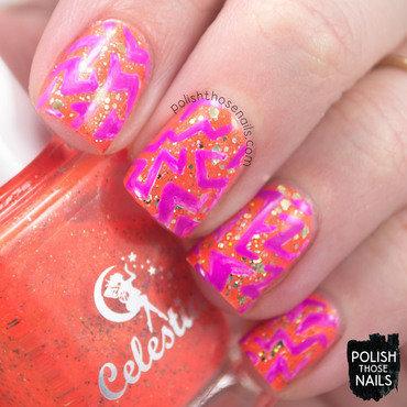 Orange neon gold glitter purple zig zag pattern nail art 4 thumb370f