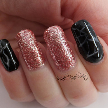 Rose Gold And Marble nail art by Make Nail Art