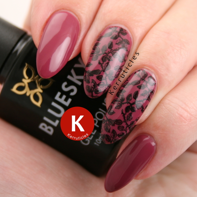 Raspberry with floral stamping nail art by Claire Kerr