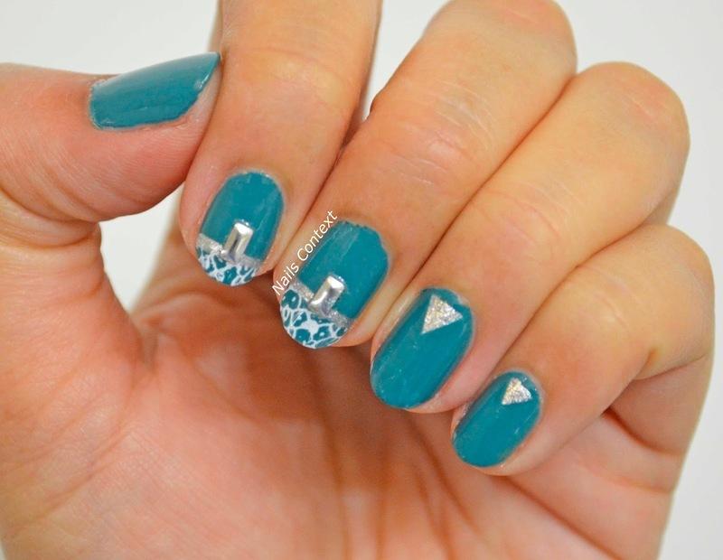 Stamped Teal Nails  nail art by NailsContext