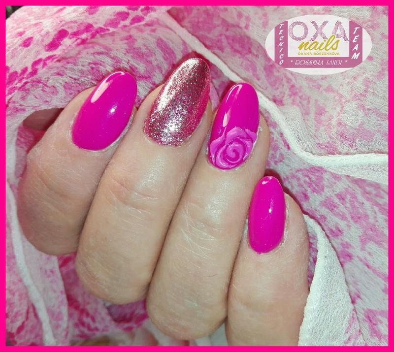 Milan rosa nail art by Rossella Landi
