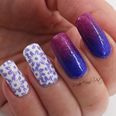 Termal Polish Gradient And FLowers nail art by Make Nail Art