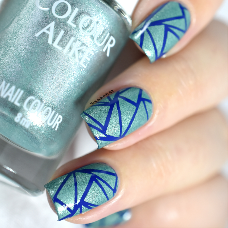 Blue shatter nail art by Marine Loves Polish