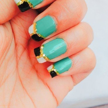Turquoise nails with golden charm nail art by Maahi Way