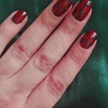 Tartan stamping nail art by Daisyq
