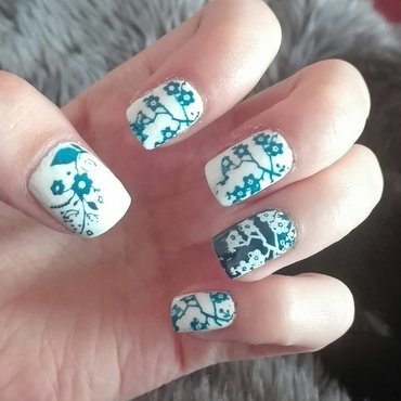 Blue & white china stamping nail art by Daisyq