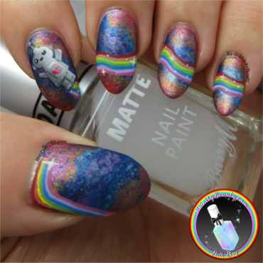 Freehand Rainbow Robot nail art by Ithfifi Williams