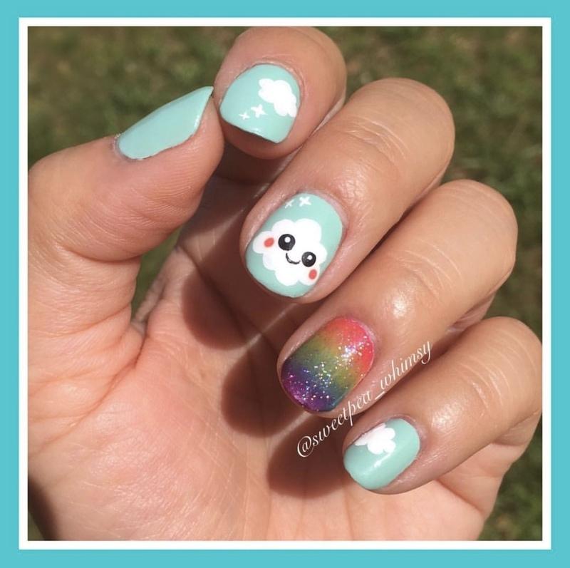 🌈 Happy Cloud & Rainbow Slush nail art by SweetPea_Whimsy