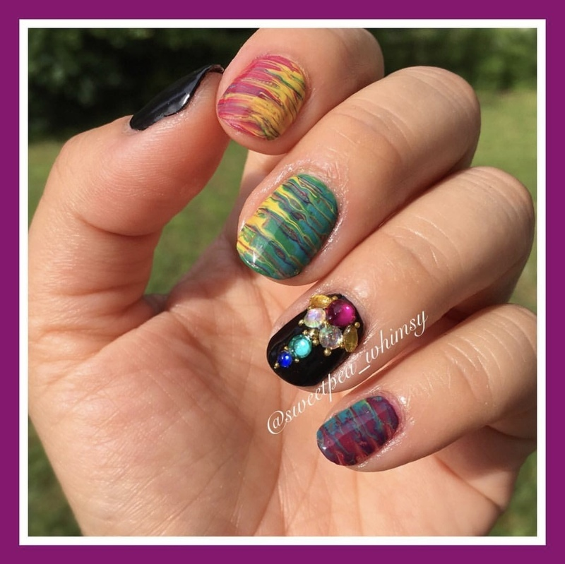 Dry Marbled Rainbow nail art by SweetPea_Whimsy