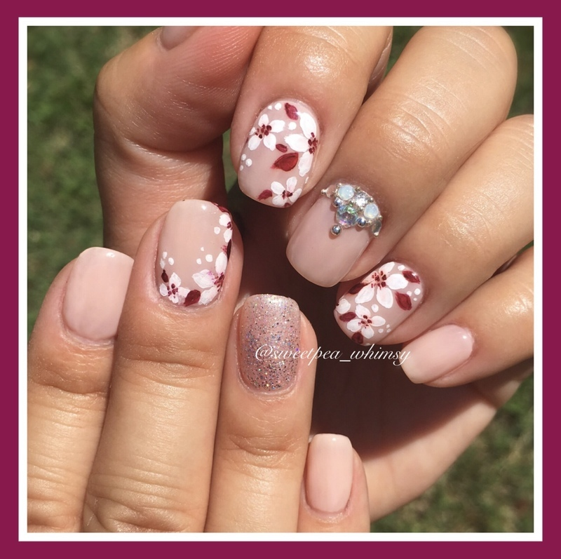 🌸 Cherry Blossoms on Blush nail art by SweetPea_Whimsy