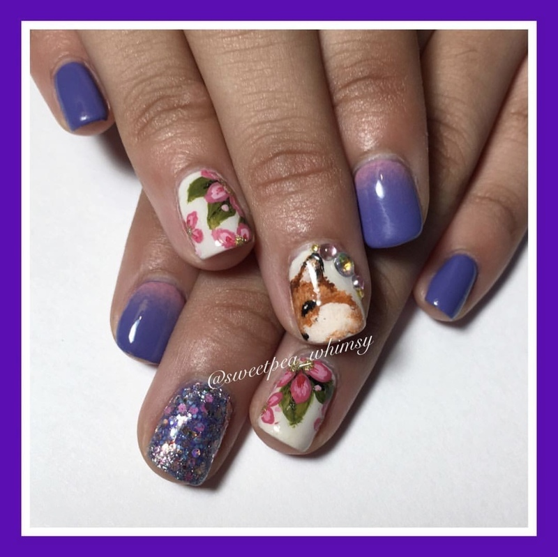 🦊 Fox & Floral Kids Mani nail art by SweetPea_Whimsy