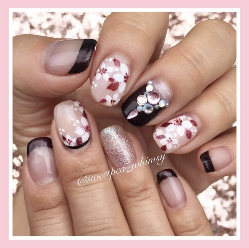 🌸 Black Cherry & Blush nail art by SweetPea_Whimsy