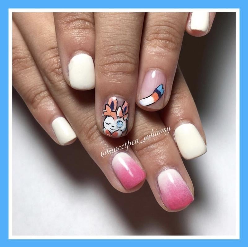 Pokémon Sylveon Pink & White Kids Mani nail art by SweetPea_Whimsy