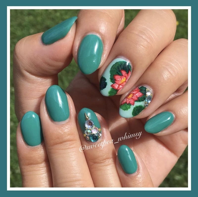 🐸 Green Lily Pad & Water Lily nail art by SweetPea_Whimsy