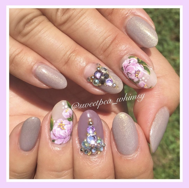 Peonies on Lavender & Champagne Halo nail art by SweetPea_Whimsy