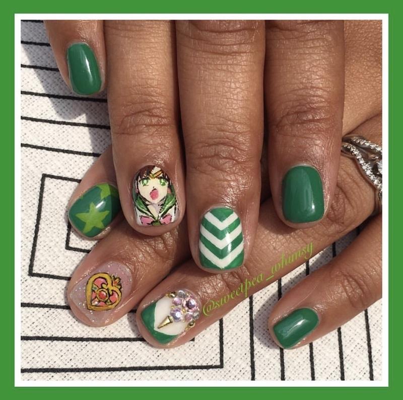 💚 Sailor Jupiter Green nail art by SweetPea_Whimsy