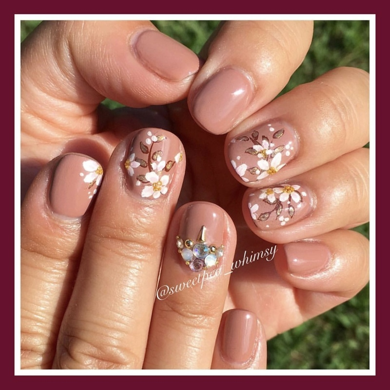 White Blossoms on Nude nail art by SweetPea_Whimsy