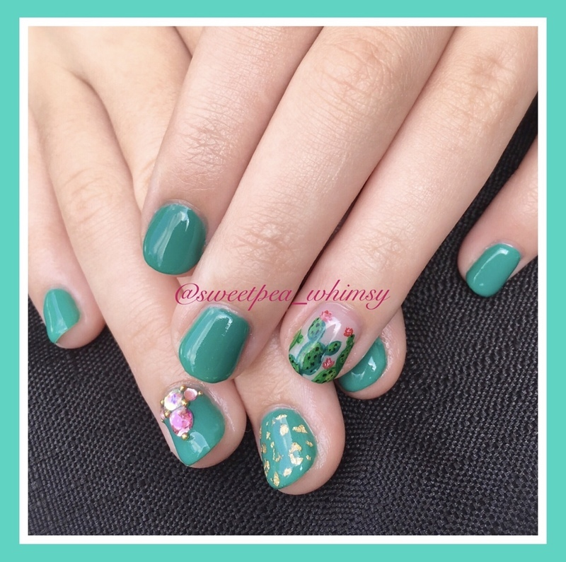 Green Cactus With a Touch of Gold Kids Mani nail art by SweetPea_Whimsy