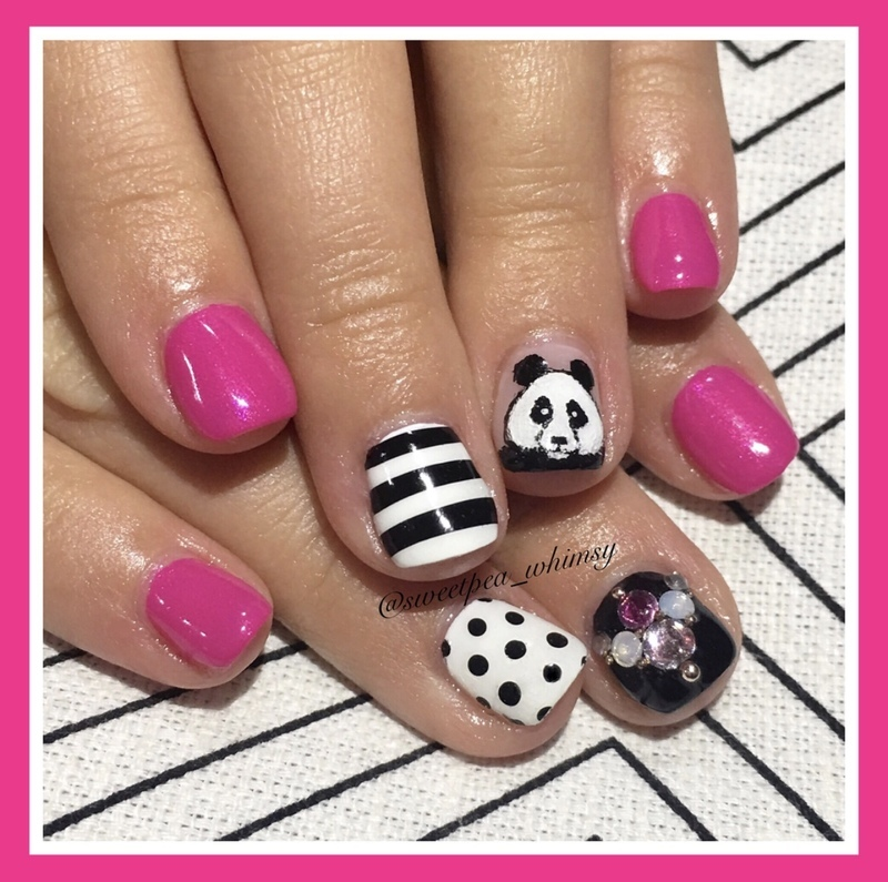 🐼 Pink, Polka Dots & Pandas Kids Mani nail art by SweetPea_Whimsy