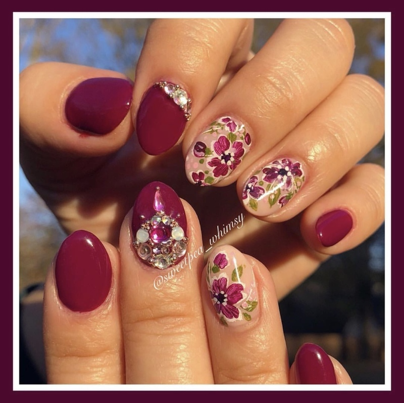 Plum Wine & Floral nail art by SweetPea_Whimsy