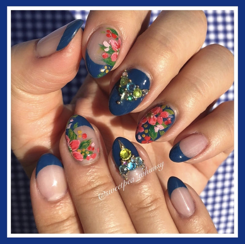 💙 Blue & Floral nail art by SweetPea_Whimsy