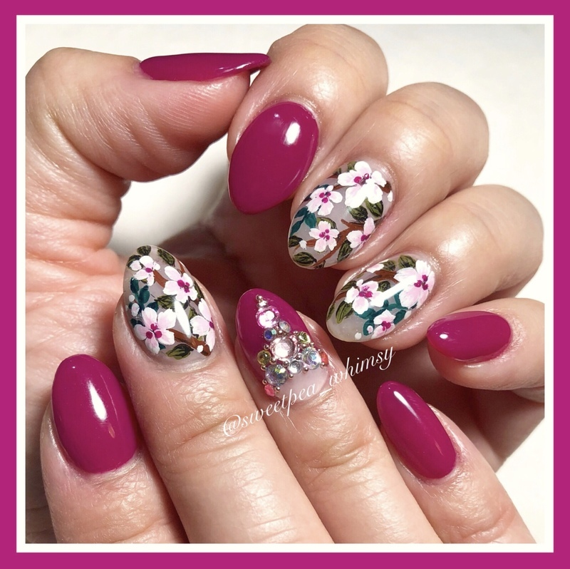 Fuchsia & Floral nail art by SweetPea_Whimsy