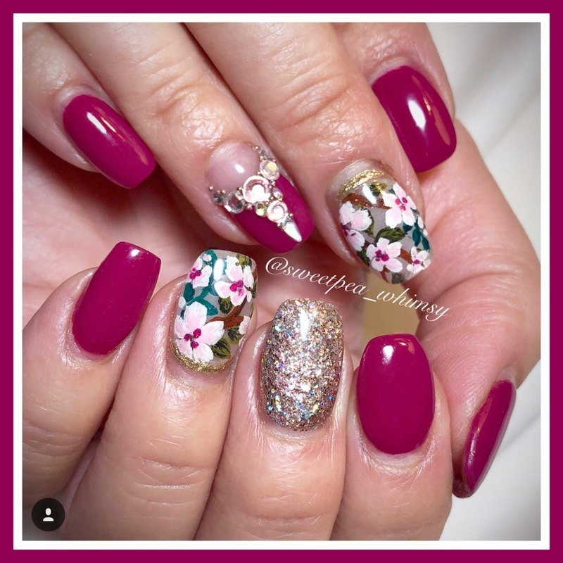 Fuchsia, Floral & Glitter nail art by SweetPea_Whimsy