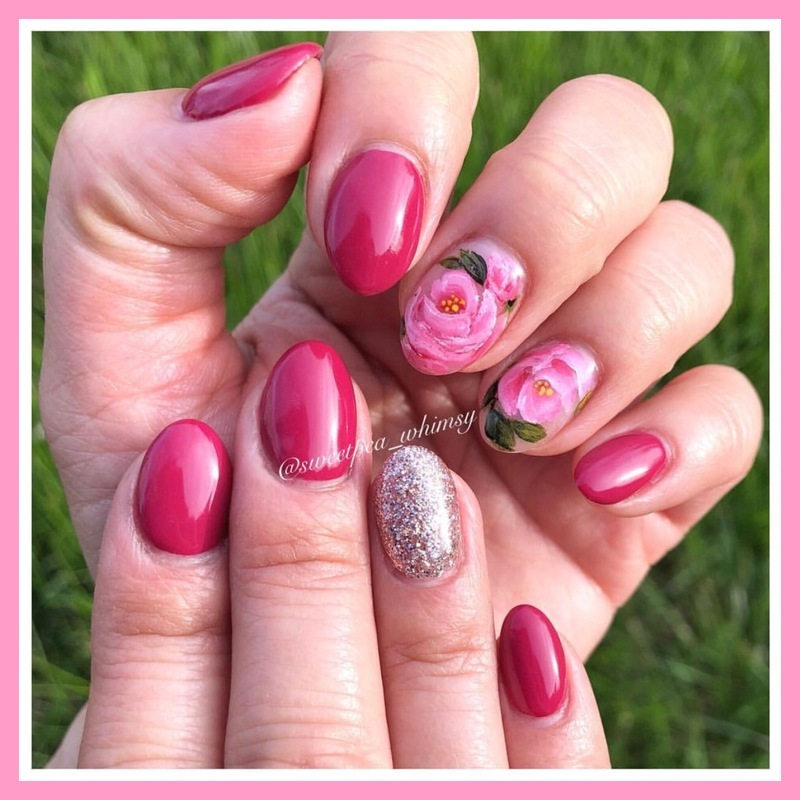 One-Stroke Roses & Dark Pink nail art by SweetPea_Whimsy