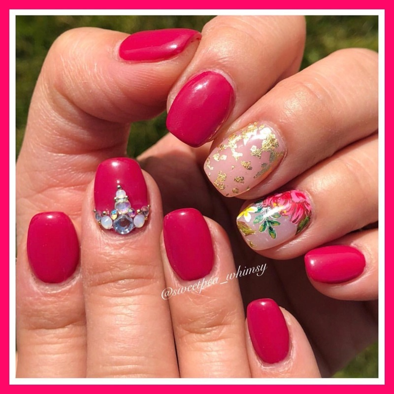 Dark Pink Peony with Gold Foil nail art by SweetPea_Whimsy