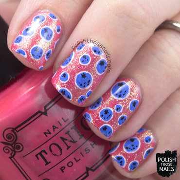 Coral shimmer blueberry dot pattern nail art 4 thumb370f