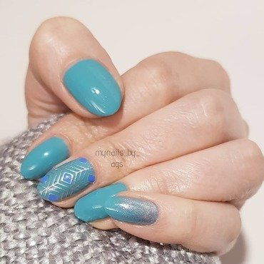 Geometric Peacock Feather nail art by Ags_W