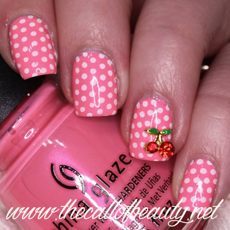 Cherry and Dots nail art by The Call of Beauty