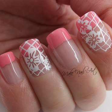 Spring french manicure and stamping flowers nail art by Make Nail Art