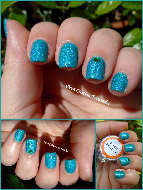 Blue/Teal Holo Pigment nail art by Dora Cristina Fernandes