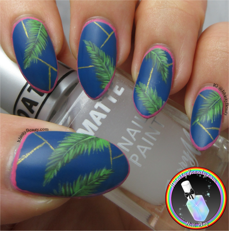 Tropical Palm Leaves nail art by Ithfifi Williams