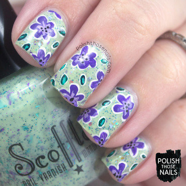 Pale green glitter purple floral pattern nail art 4 thumb370f